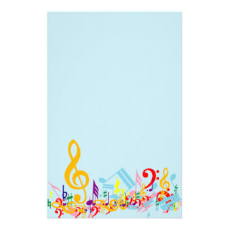 Colorful Jumbled Musical Notes Personalized Stationery