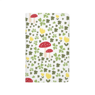 Colorful jump meadow with flowers and mushrooms journals