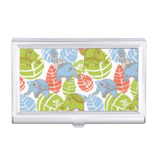 Colorful Jungle Elephants Business Card Case