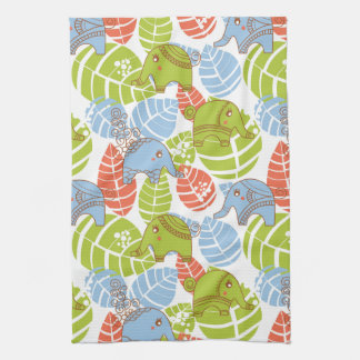 Colorful Jungle Elephants Towel