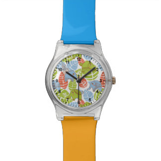 Colorful Jungle Elephants Wristwatch