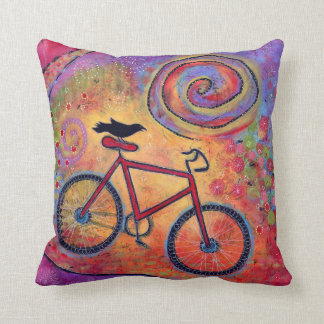 Colorful, Just Ride and Fly, Bicycle and Raven Cushion