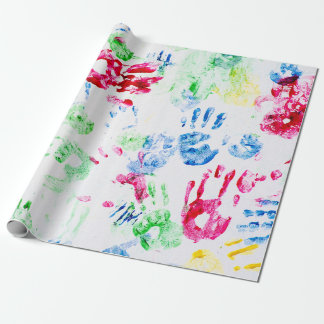 colorful juvenile hand prints wrapping paper