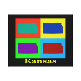 Colorful Kansas Pop Art Map Canvas Prints