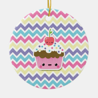 Colorful Kawaii Cupcake on Chevrons Round Ceramic Decoration