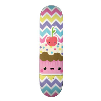 Colorful Kawaii Cupcake on Chevrons Skateboard Deck