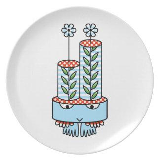 Colorful kawaii cute cartoon character plates
