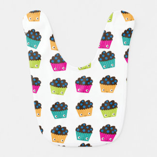 Colorful Kawaii Muffins Baby Bib