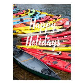 Colorful Kayaks, Happy Holidays Postcard