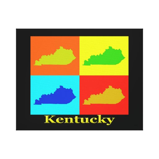 Colorful Kentucky Pop Art Map Canvas Print