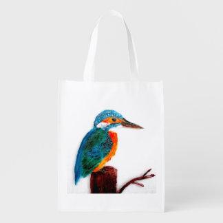 Colorful Kingfisher Bird Art Reusable Grocery Bag