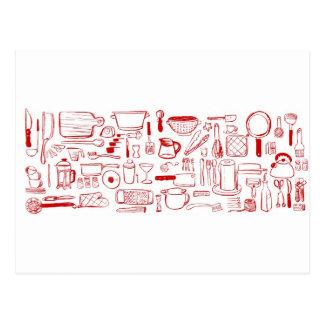 Colorful Kitchen Pattern Postcard