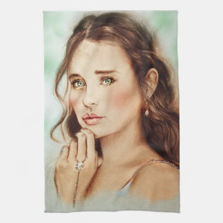 Colorful kitchen towel - Lady of Spring