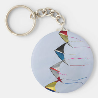 colorful kites flying in the sky basic round button key ring