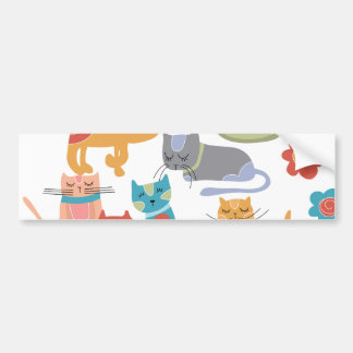 Colorful Kitty Cats Print Gifts for Cat Lovers Bumper Sticker