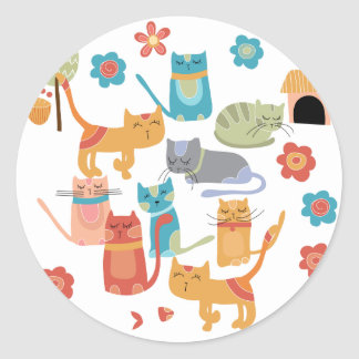 Colorful Kitty Cats Print Gifts for Cat Lovers Sticker