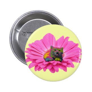 Colorful Kitty on Pink Daisy Flower 6 Cm Round Badge