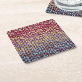 Colorful Knit Square Paper Coaster