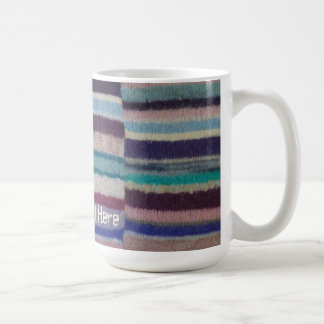 colorful knitted stripes shabby chic fun design basic white mug