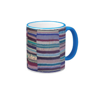 colorful knitted stripes shabby chic fun design ringer mug