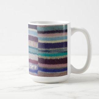 colorful knitted stripes unique vintage fun design coffee mug