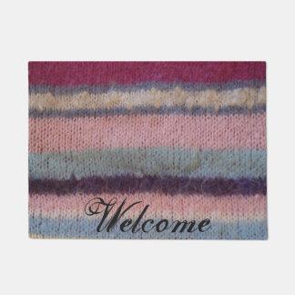colorful knitted stripes unique vintage fun design doormat