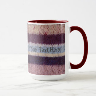 colorful knitted stripes unique vintage fun design mug