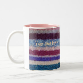colorful knitted stripes unique vintage fun design Two-Tone coffee mug