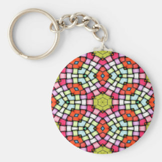 Colorful knitted texture basic round button key ring