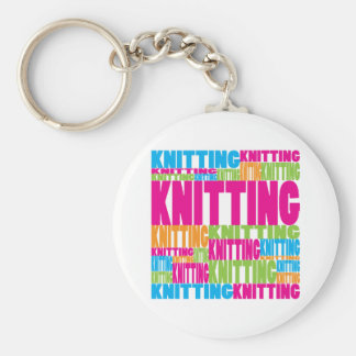 Colorful Knitting Basic Round Button Key Ring