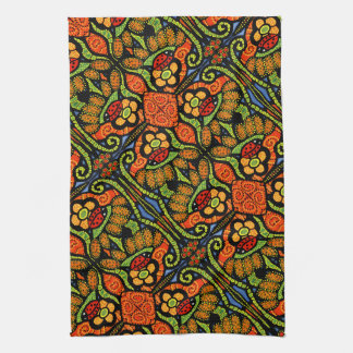 Colorful Ladybug Pattern Polka Dots Flowers Tea Towel