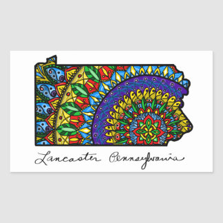 Colorful Lancaster PA Rectangle Sticker