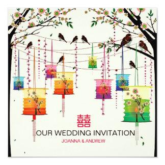 Colorful Lanterns Cherry Tree Birds Spring Wedding 13 Cm X 13 Cm Square Invitation Card