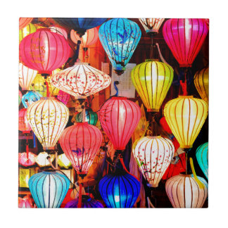 Colorful lanterns small square tile