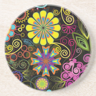Colorful Large Retro Flowers Coaster