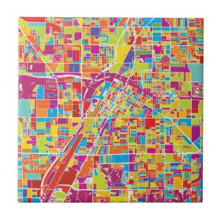 Colorful Las Vegas, Nevada Map Ceramic Tile