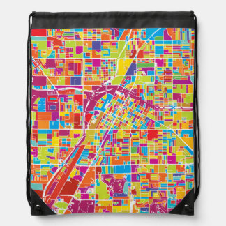 Colorful Las Vegas, Nevada Map Drawstring Bag