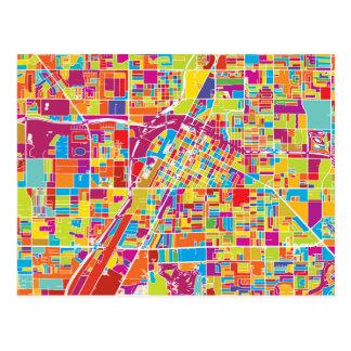 Colorful Las Vegas, Nevada Map Postcard