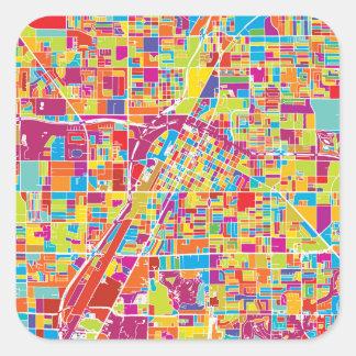 Colorful Las Vegas, Nevada Map Square Sticker