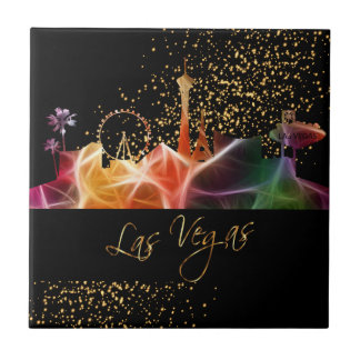 Colorful Las Vegas Skyline Ceramic Tile