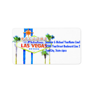 Colorful Las Vegas Welcome Sign Label