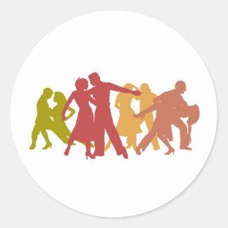 Colorful Latin Dancers Classic Round Sticker