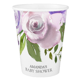 Colorful Lavender Flowers Baby Shower Paper Cup