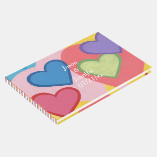 Colorful Layered Hearts Personalized Guestbooks