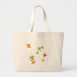 Colorful leaf design jumbo tote bag