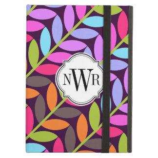 Colorful Leaf Pattern Monogram iPad Case