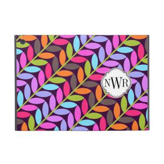 Colorful Leaf Pattern Monogram iPad Mini Cases