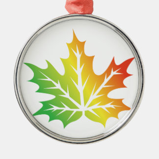 Colorful Leaf Silver-Colored Round Decoration