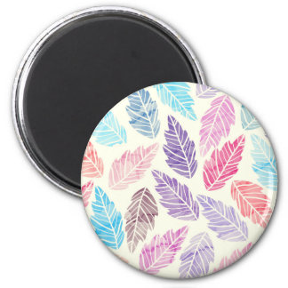 Colorful leaves 6 cm round magnet