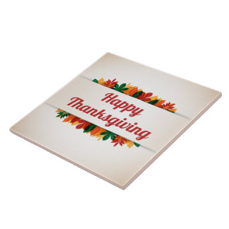 Colorful Leaves Happy Thanksgiving | Ceramic Tile
